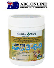Healthy Care Omega 3-6-9 Fish Oil Eczema Joint Pain Blood Brain PMS relief