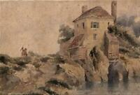 ATTRIBUTED SAMUEL PROUT Watercolour Painting FIGURE IN LANDSCAPE c1840
