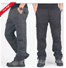 Mens loose casual cargo pants winter fur thick overalls outdoor work trousers