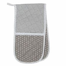 BEIGE WHITE STARS GINGHAM POLKA DOT LACE 100% COTTON DOUBLE OVEN GLOVE 20 X 80CM