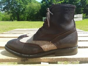 Mens Walk Over Vibram Brown Leather Beige Wool Wingtip Boots Shoes Size 12 M