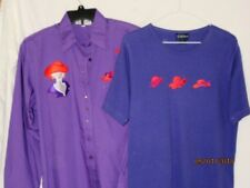 2 Red Hat Society PURPLE TOPS T-Shirt & Long-Sleeved Button Down Embellished M L
