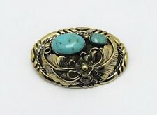 Conchos Antique Brass Turquoise Flower Screw Back Leathercraft Western Cowboy