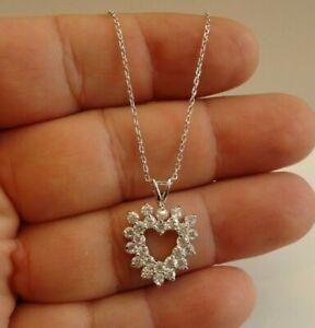 OUTLINE OPEN HEART  NECKLACE PENDANT W/ LAB DIAMONDS / 925 STERLING SILVER/ 18''