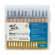 Mont Marte Wood Carving Set 12pc Chisels Hobby Craft Sculpting Knives Sk2 Blades