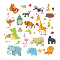 Animals Wall Stickers for Kids Nursery Rooms Monkey Elephant Horse Wall Decals