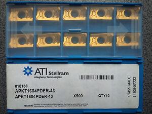 WENDEPLATTEN 10 x APKT1604PDER-43 X500 WENDESCHNEIDPLATTEN MILLING INSERTS