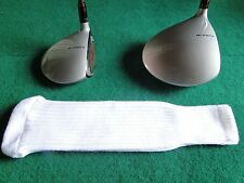 Knitted zebra style Fairway & Driver Golf Club head cover / Optic White