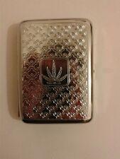 Cas cigarrete métal motif feuille de cannabis ~ ~ ~ ~ ~ ~ cigerette gravé cas.