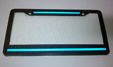 Top Bottom Blue Line License Plate Frame thin REFLECTIVE police safety