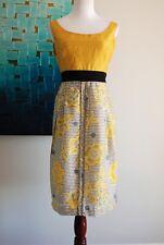 Anthopologie Edme & Esyllte Yellow Blue Floral Goldenrod Tunic Dress Sz 8