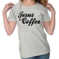 Jesus Christ Coffee Funny Shirt Religious Gift Christian Cute Ladies Tee Shirt T