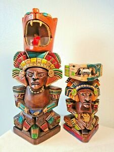 """Hand Carved Painted Wooden Mayan Aztec Totem Figurines 13"""" Corn Panther 8"""" Snake"""