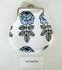 Marimekko Finland, Vihkiruusu, pieni kukkaro, Purse, 12 x 13 cm, white/blue