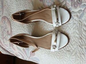 F&F ladies size 4 white beige  wedge heel sandals