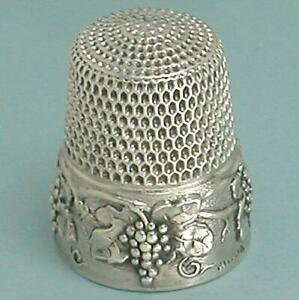 Antique Sterling Silver Patented Grape Vine Thimble by Simons Bros * 1907 Patent