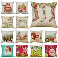 "Christmas 18"" Cotton Linen Pillow Case Cushion Cover Throw Home Decor Style"