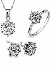 DIAMANTE DIAMONTE NECKLACE SET LADIES JEWELERY QUALITY EARRINGS RING NECKLACE