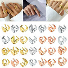 Personalized Rings Initial Letter A-Z Adjustable Open Signet Ring Jewelry Gift