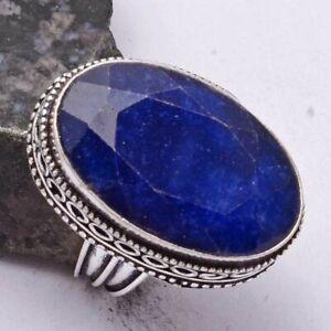 Blue Sapphire Ethnic Handmade Antique Design Ring Jewelry US Size-6 AR 40987