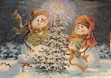 Christmas Snow Family Wall  Decor Dona Gelsinger Fiber Optic Lights.Tapestry