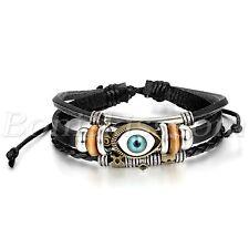 Men Women Blue Evil Wacthing Eye Studded Leather Bracelet Adjustable Bangle Cuff
