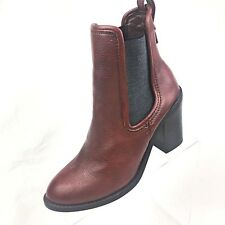 3293bde659b0 MERONA Women s Brown Leather Ankle Boots Slip-On Block High-Heels size 8  Stretch