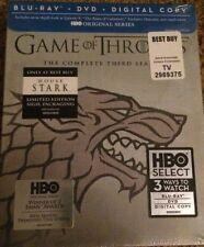 Game of Thrones Season 3 Blu-ray Stark Limited Edition Sigil Slip Cover - NEW
