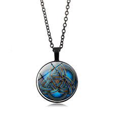 1 Pc Blue celtic triquetra Glass Black Pendant Necklace for men woman jewelry