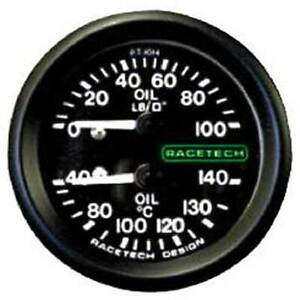 """Racetech Oil Pressure/Oil Temp Gauge Backlit 1/8"""" BSP Nipple Fitting & 12ft Pipe"""