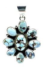 Navajo Sterling Silver Handmade Golden Hills Turquoise Pendant By Shirley Henry