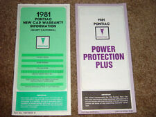 1981 Trans Am Factory GM Original Blank Warranty Brochure GM Part # 10016555 B