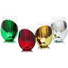 MyGift Set of 4 Modern Multicolored Stemless Tumbler Wine Glasses Drinkware Set