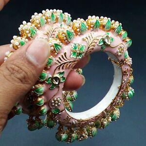 New Bollywood Indian Bridal Wedding Pearl Kundan Bangles Bracelets Jewelry Pair