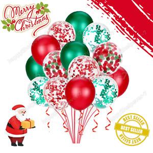 50pcs Merry Christmas Latex Balloons Green & Red Santa Xmas bells Decoration UK