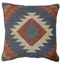 "18"" Handwoven Pillow Cover Geometric Pattern Kilim Design Throw Vintage Cushion"