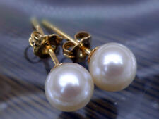 natural  round AAA +++ 8-7mm South Seas white  pearl earrings with 14k stud