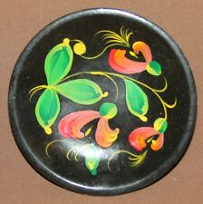 Vintage Russian small hand painted floral wood tole plate