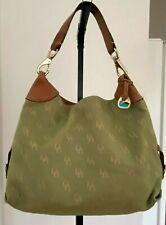 DOONEY & BOURKE Monogram Green Canvas Leather Handle Large Hobo Bag