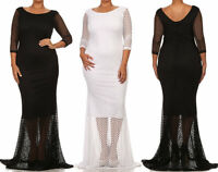 Plus Cut Out Fishnet Lace Overlay Mermaid Maxi Dress Gown