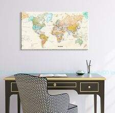 50X90X3cm World Map HD Framed Stretched Canvas Print Wall Art Home Office Decor