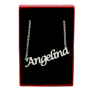ANGELINA Silver Tone Name Necklace | Personalized Anniversary Valentine's Day