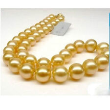 """GENUINE Huge 18"""" Round 10-9 mm AAA south sea golden pearls Necklace 14K Gold"""