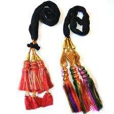 Red and Multicolor Paranda Parandi Hair Accessory Braid Tassles - 2 Piece