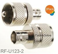 2-Pack BNC Female to UHF PL259 Male Coaxial RF Adapter, CablesOnline RF-U123-2