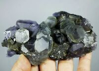 Natural Gem Level Purple Fluorite & Calcite Crystal Mineral Specimen/China