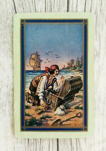 Swap Card, Genuine Vintage US Pirate Playing Card, Named Treasure Island