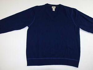 L.L. Bean Men's 100% Cashmere V-Neck Sweater Large Navy Blue Pullover L LS