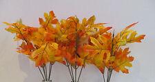 Articial Oak Leaf SPRAY-confezione da 3 Arancione & ROSSO-autunno 30cm Tall