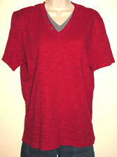 INC Dark Red & Gray 100% Cotton Layered Look V-Neck Tee Size Small Excellent!